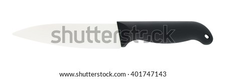 Ceramic Knife With Black Handle - stock photo