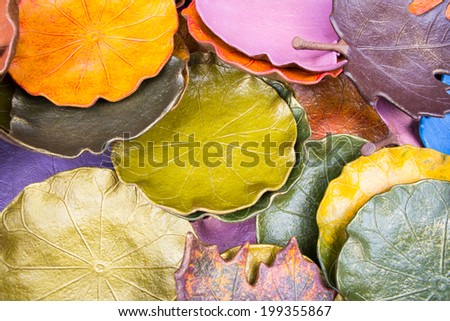 Ceramic leaf shaped saucer - stock photo