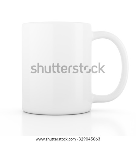 Ceramic mug empty blank for coffee or tea isolated on white background - stock photo