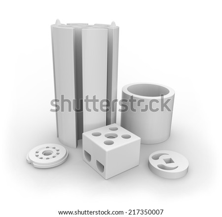Ceramic parts isolated on white - stock photo