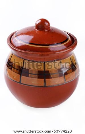 Ceramic pattern pot isolated on white background - stock photo