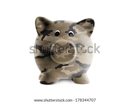Ceramic piggy bank with painting, army camouflage - stock photo