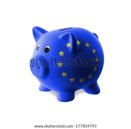 Ceramic piggy bank with painting of flag, European Union - stock photo