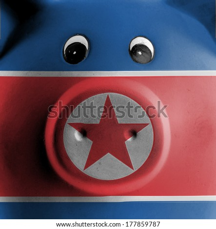 Ceramic piggy bank with painting of national flag, North Korea - stock photo
