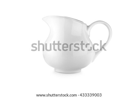 Ceramic pitcher from side view on white background. - stock photo