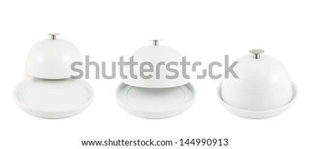 Ceramic plate cover on the dish isolated over white background, set of three foreshortenings - stock photo
