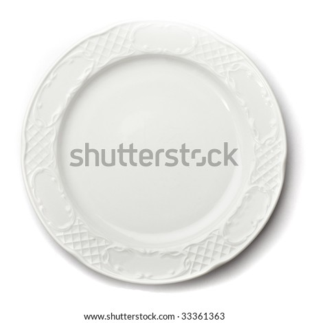 ceramic plate isolated - stock photo