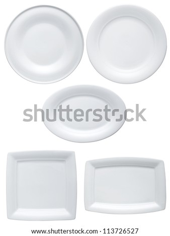 Ceramic Plate on a white background - stock photo