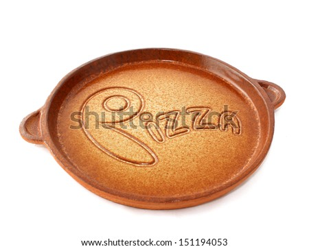 ceramic  plate  pizza isolated on white background - stock photo