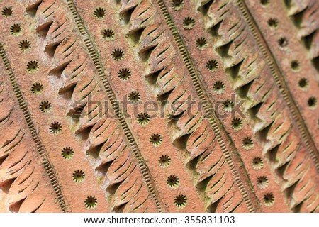 Ceramic Pots and Clay Plates background - stock photo