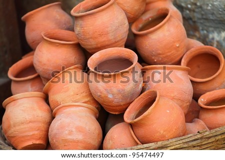 ceramic pots and utensils displayed for sale - stock photo