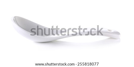 Ceramic spoon photos of kitchen accessories - isolated on white background. - stock photo
