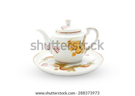 ceramic tea set of Chinese old style isolate on white background, gold dragon paint - stock photo