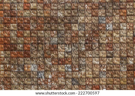 Ceramic tiles. Beige mosaic ceramic tiles for wall or floor. - stock photo