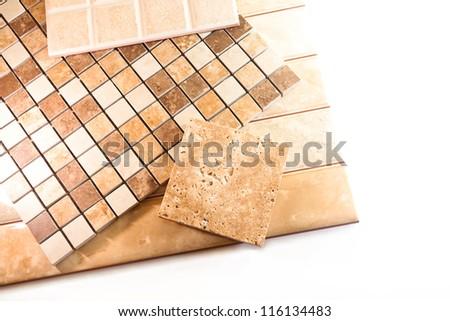 Ceramic tiles for tiling on a white background - stock photo