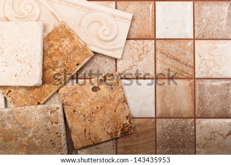 Ceramic tiles of different sizes and colors - stock photo
