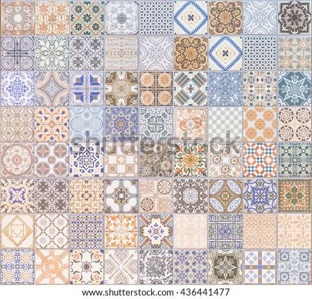 Ceramic tiles patterns background texture. - stock photo