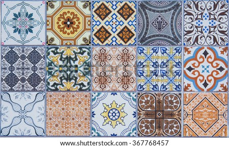 ceramic tiles patterns from Portugal. - stock photo