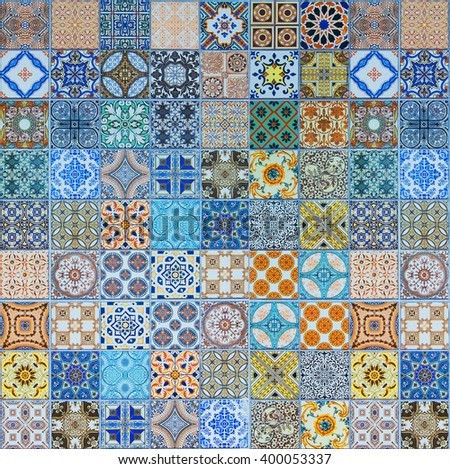 Ceramic tiles patterns from Portugal - stock photo