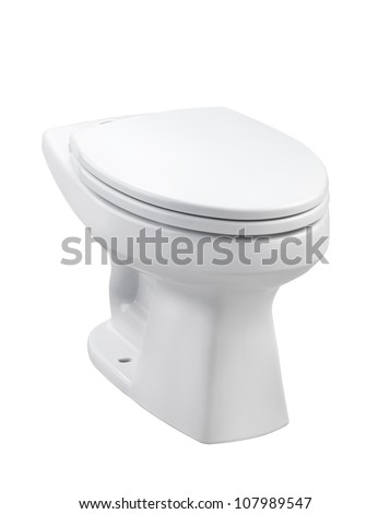 Ceramic toilet bowl with cover - stock photo