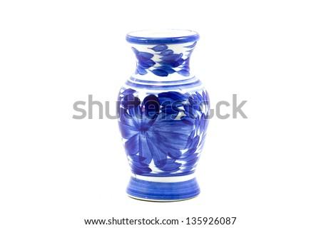 Ceramic vase on a white background. - stock photo