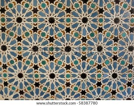 Ceramic wall tiles in the Real Alcazar in Seville, Spain - stock photo