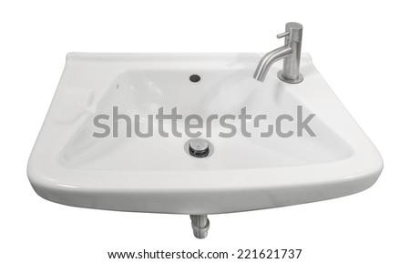 Ceramic washbowl on white background. - stock photo