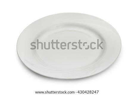 Ceramic white plate  isolated on a white background, close-up. - stock photo