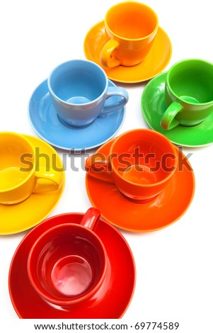 ceramics coffee cups on a white background - stock photo