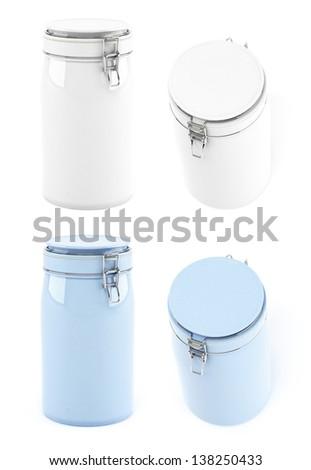 Ceramics jar in different views - stock photo