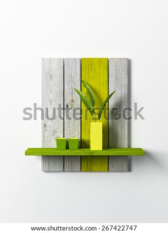 ceramics vases on the shelf, 3d rendering - stock photo