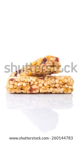 Cereal bar over white background - stock photo
