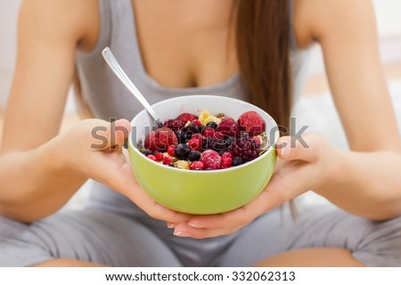 Cereal Mueasli Healthy Food with fruits in bowl. Healthy and Dieting concept. - stock photo