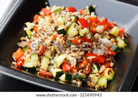 Cereal salad mix with vegetables - stock photo
