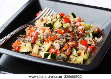 Cereal salad with vegetables - stock photo