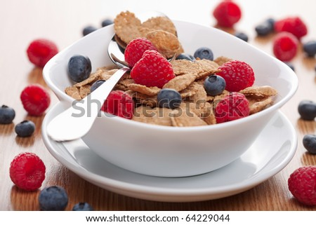 cereal with berries - stock photo