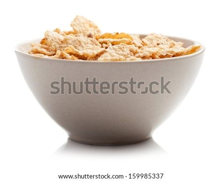 cereals bowl isolated on white background - stock photo