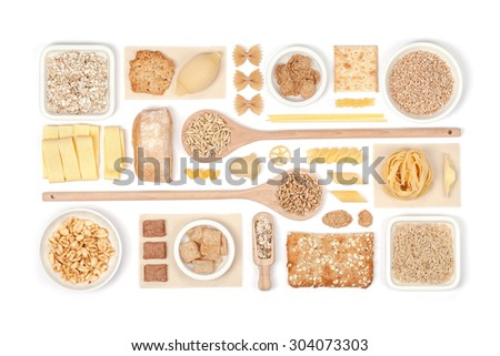 cereals on white background - stock photo