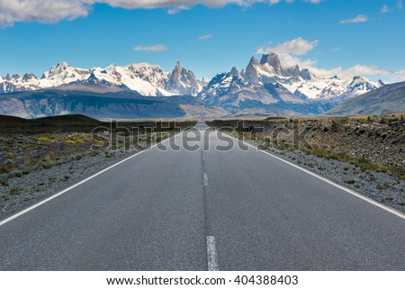 Cerro Torre & Fitz Roy from Route 23, El Chalten (Argentina) - stock photo