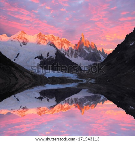 Cerro Torre mountain and lake at sunrise. Los Glaciares National park. Argentina.  - stock photo