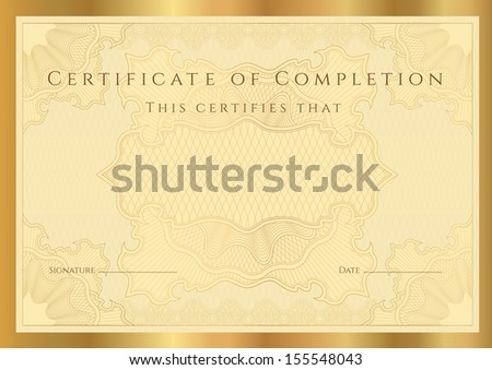 Certificate, Diploma of completion (design template, background) with guilloche pattern (watermark), border, frame. Gold Certificate of Achievement, Certificate of education, coupon, awards, winner - stock photo