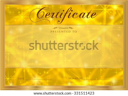 Certificate, Diploma of completion with abstract gold background, sparkling twinkling stars. Cosmic shiny galaxy (atmosphere). Award of Achievement, gift coupon, winner certificate. Backdrop design - stock photo