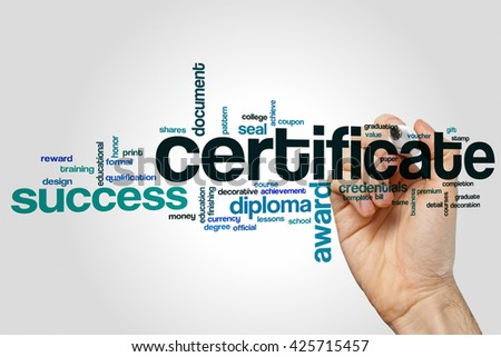 Certificate word cloud concept - stock photo
