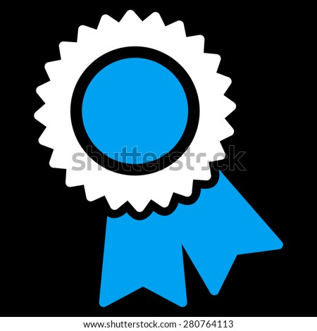 Certification icon from Competition & Success Bicolor Icon Set on a black background. This isolated flat symbol uses light blue and white colors. - stock photo