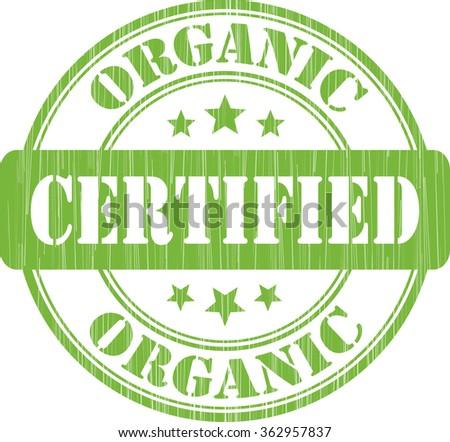 Certified Organic  green grunge stamp. - stock photo