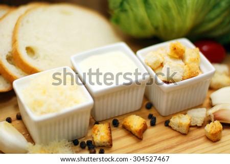 Cesar salad ingredients - stock photo