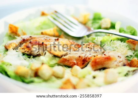 Cesar salad with chicken - stock photo