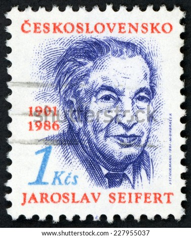 CESKOSLOVENSKO - CIRCA 1991: stamp printed in Czechoslovakia (Czech) shows portrait of Jaroslav Seifert (1901-1986) poet writer, nobel laureate for literature; Scott 2822 A1022 red blue 1k; circa 2000 - stock photo