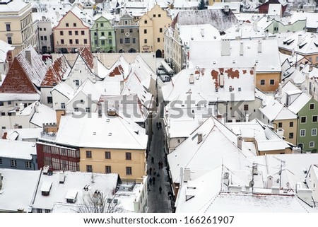 Cesky Krumlov city fortress tower view in Winter  - stock photo
