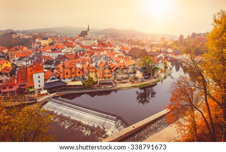Cesky Krumlov river Vltava autumn Czech Republic. Illustration - stock photo